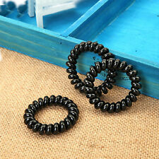 5pcs Black Hair Ties Girl Women Rubber Telephone Wire Style Plastic Rope