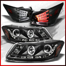 Fits 08-12 Honda Accord 4DR Halo LED Projector Headlights+LED Tail Lights