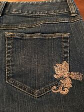 Ann Taylor Loft Boot Cut Embroidered Women's Stretch Jeans Size 4 X 30