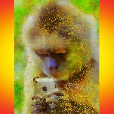 NIK TOD ORIGINAL PAINTING LARGE SIGNED ART NIKFINEARTS MONKEY WITH SMARTPHONE UK