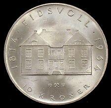 1964 Brilliant Uncirculated (Bu) Norway 90% Silver 10 Kroner - no2
