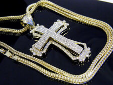 New Iced Out Hip Hop Cross Crystal Pendant Jesus Religion Necklace Gold Franco