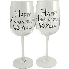 40eme An Anniversaire De Mariage Paire de Verres à Vin (Noir/Argent)
