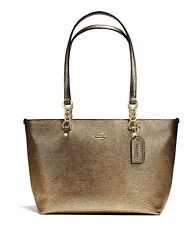 COACH Leather Sophia Purse Tote Handbag Gold Metallic Valentines 37117 $260 NWT