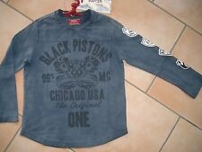 (92) RARE-The Kid Boys used look 1/1 Arm Shirt Black Pistons & Logo Druck gr.116