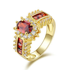 Jewelry Size 11 Nobby Garnet 10KT Gold Filled Women's Fashion Wedding Ring Gift