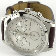 Tissot T0494171603700 Men's PR 100 Quartz Watch Silver Dial Brown Leather Strap