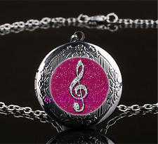 Diamond musical note Cabochon Glass Gun Black Locket Pendant Necklace#686