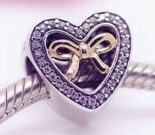 GOLD HEART and BOW 925 Sterling Silver Solid European Charm Bead for Bracelet