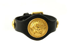 New Hip Hop Style Yellow 14K Gold Plated Large Medusa Head Leather Bracelet