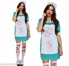 Ladies Bloody Nurse Zombie Halloween Horror Fancy Dress Costume Adult M/L