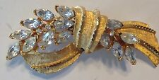 Vintage Brooch Pin Signed BSK Crystal Rhinestone Gold Tone Wheat Shaft