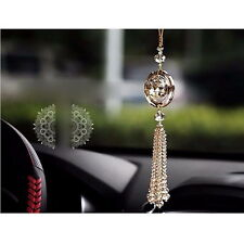 Gold Auto Car Rear View Mirror Pendant Crystal Hanging Ornament Interior Decor チ