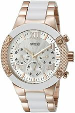 GUESS Womens U0770L2 Rose Gold-Tone and White Chrono-Look Watch