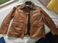 NEW Armani Jeans Brown Leather Winter Coat Jacket Sz M L G Blouson Veste Manteau