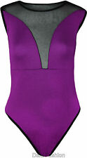 NEW LADIES HALF MESH INSERT LEOTARD BODYSUIT SLEEVELESS CREW NECK BODYSUIT 8-14