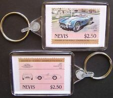 1966 SHELBY COBRA 289 Roadster Car Stamp Keyring (Auto 100 Automobile)