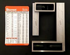 """Lot 4"""" and 6"""" Igaging 4R 8/16/32/64ths Double Machinist Squares + Starrett Card"""