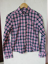 hollister size s pink white navy blue check shirt top