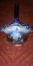 fenton artist signed brides basket blue glass