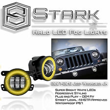 "30W CREE 4"" In LED Fog Light WHITE Halo Angel Eyes (YELLOW) Jeep Wrangler 07-16"