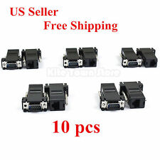 10 Pcs Extender VGA Male to LAN CAT5 CAT6 RJ45 Network Cable Female Adapter US