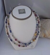 "LOVELY NEW HONORA 36"" 5 &9MM BAROQUE / RONDELLE KALEIDOSCOPE  NECKLACE SS BEADS"