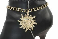 Women Gold Metal Chain Boot Bracelet Anklet Shoe Shinny Big Sun Charm Jewelry