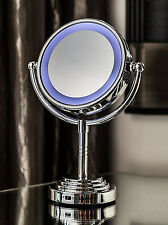 LIGHTED Makeup Mirror Vanity LED Double Sided Compact Stand Magnifying 1x/5x