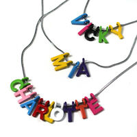 PERSONALISED ANY NAME NECKLACE, Metal Letters, Silver chain for kids/children