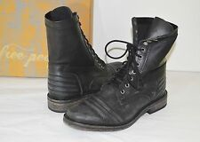 New $178 Free People Sounder Boot Lace Up Black Leather Boots sz 8/39 Vintage