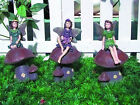 SET OF 3 FAIRIES ON TOADSTOOLS GARDEN ORNAMENTS