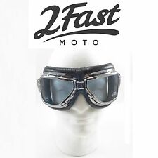 2FastMoto Roadhawk Goggles Chrome Frame Cafe Racer Sport Street Bike Chopper
