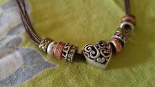 VTG Necklace mixed metal copper brass silver tone rhinestones heart on cord adj