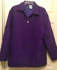 Clio Quilted Jacket Medium Purple Silk Nylon Polyester Buttons Pockets Collar