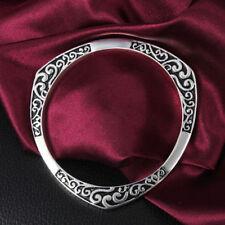 Vintage 925 Sterling Silver Plated Cuff Bracelets Bangle men Women Elegant gift