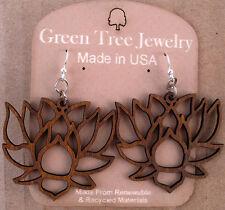 LOTUS laser-cut wood earrings Green Tree Jewelry CINNAMON blossom flower 1380