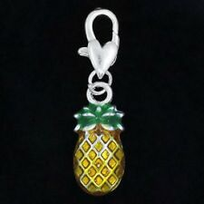 BEAUTIFUL SILVER AND YELLOW PINEAPPLE 1 SIDED  CLIP ON CHARM FOR BRACELETS-NEW