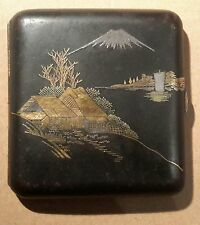 JAPANESE SIGNED ANTIQUE SILVER GOLD SHIBUICHI ENAMEL CIGARETTE CARD CASE BOX