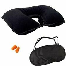 Black Inflatable Neck Travel Home Plane Car Pillow Head Support Mask & Ear Plugs