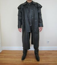 Marco Bassi - Uomo Men's Western Leather Duster Trench Coat Size L Large Black