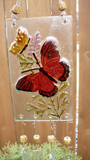 """RED BUTTERFLY  WIND CHIMES GLASS 16"""" TOTAL GARDEN  DECOR 4.5 """" WIDE leather"""