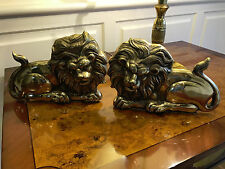 Pair of Vintage Brass Lion Bookends