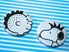 SET OF 2 PUNK ROCK SNOOPY CHARLIE BROWN BLACK AND WHITE PEANUTS BUTTON PIN BADGE
