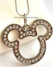 Mickey Mouse Ears Crystal Necklace Disney Silver Plated 17 inches USA Seller