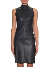 NEW THE ROW Navy Sleeveless Lambskin Stretch-Leather Dress Size 6