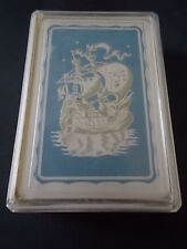 Vintage 60s Pack Deck Playing Cards in Plastic Case stamped Foreign GALLEON SHIP