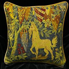 DECORATIVE PILLOW COVER Medieval Tapestry Throw Cushion UNICORN Sofa Scatter red