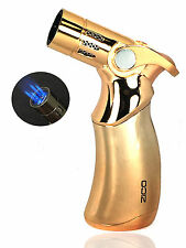 "4.5"" ZICO Premium Quality Quadruple Refillable Butane Torch Lighter Handy Gold"