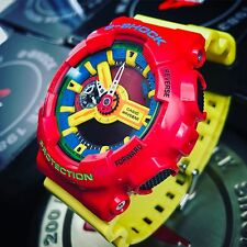 Casio G Shock GA110 Hyper Complex Crazy Colours Custom Red Yellow